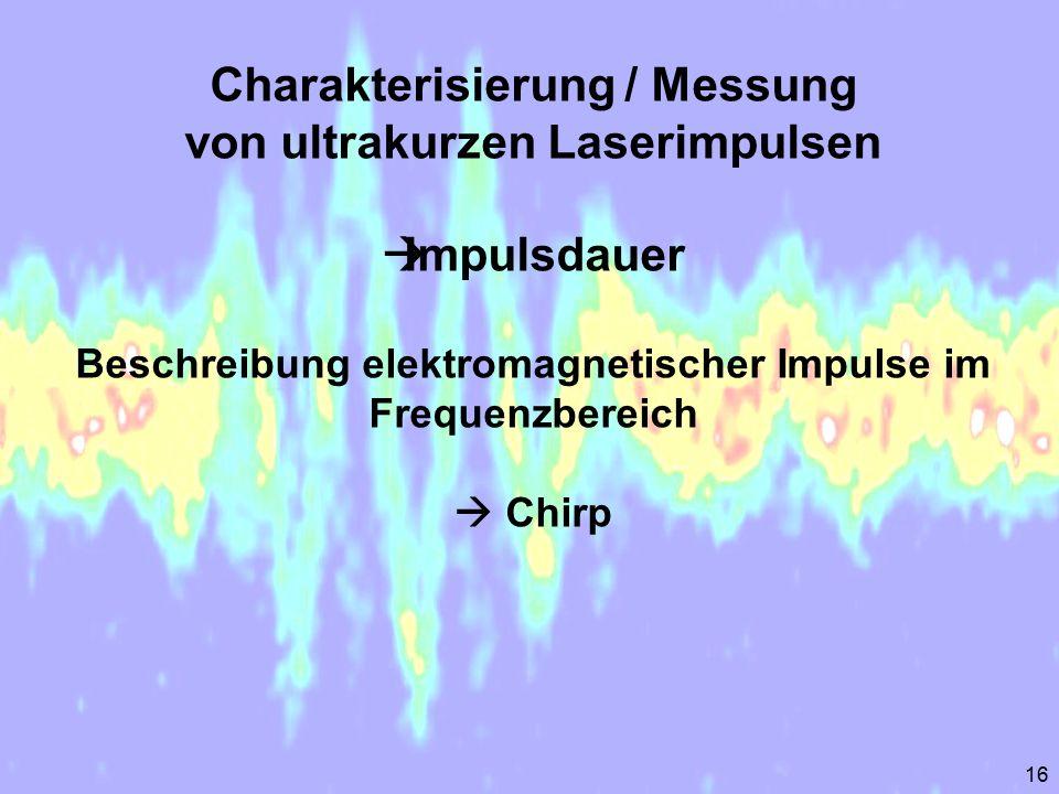 Charakterisierung / Messung von ultrakurzen Laserimpulsen Impulsdauer