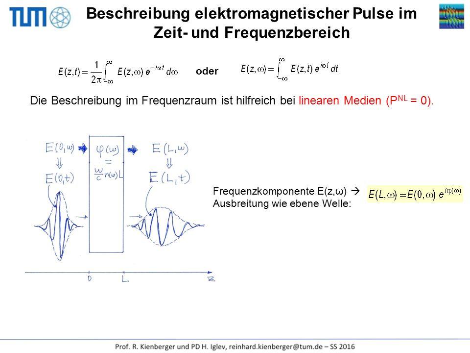 Beschreibung elektromagnetischer Pulse im Zeit- und Frequenzbereich