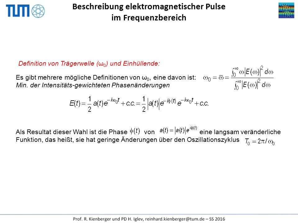 Beschreibung elektromagnetischer Pulse im Frequenzbereich