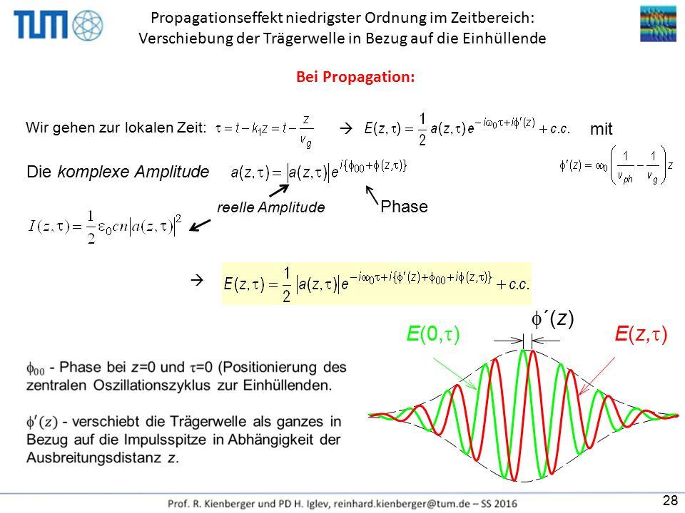 Propagationseffekt niedrigster Ordnung im Zeitbereich: Verschiebung der Trägerwelle in Bezug auf die Einhüllende