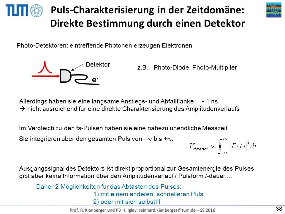 Puls-Charakterisierung in der Zeitdomäne: Direkte Bestimmung durch einen Detektor