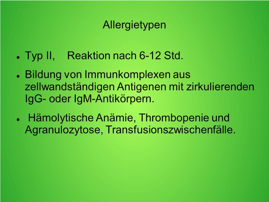Allergietypen Typ II, Reaktion nach 6-12 Std.