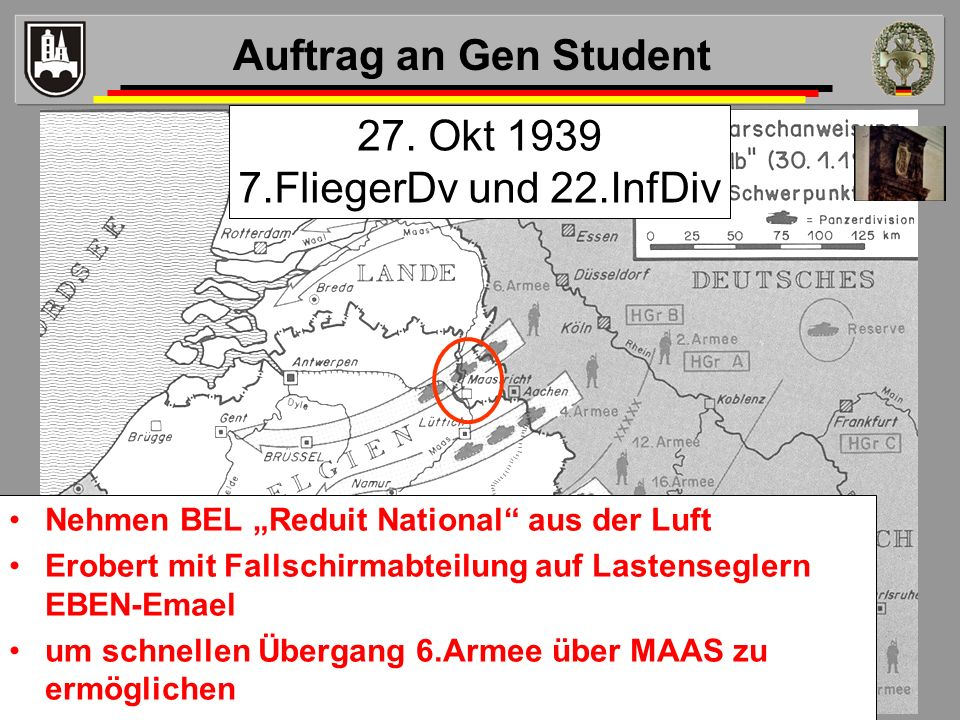Auftrag an Gen Student 27. Okt 1939 7.FliegerDv und 22.InfDiv