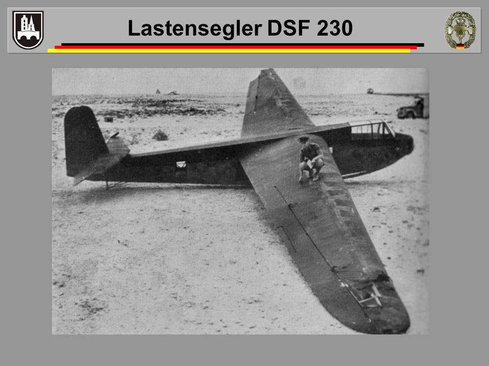 Lastensegler DSF 230 Die DFS 230 wurde als Lastensegler für acht Soldaten entwickelt und von Deutschland im Zweiten Weltkrieg vielfach eingesetzt.