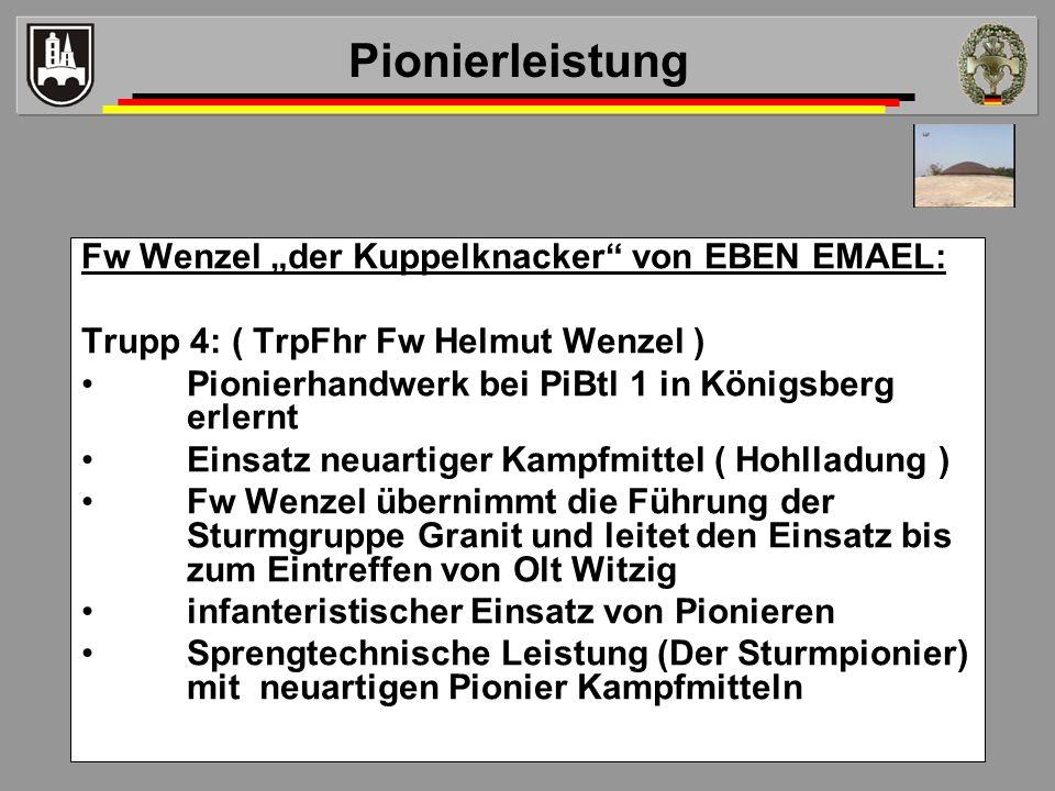 """Pionierleistung Fw Wenzel """"der Kuppelknacker von EBEN EMAEL:"""