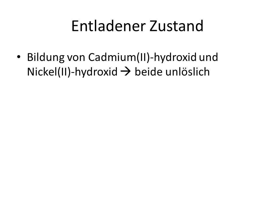 Entladener Zustand Bildung von Cadmium(II)-hydroxid und Nickel(II)-hydroxid  beide unlöslich