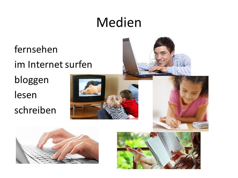Medien fernsehen im Internet surfen bloggen lesen schreiben