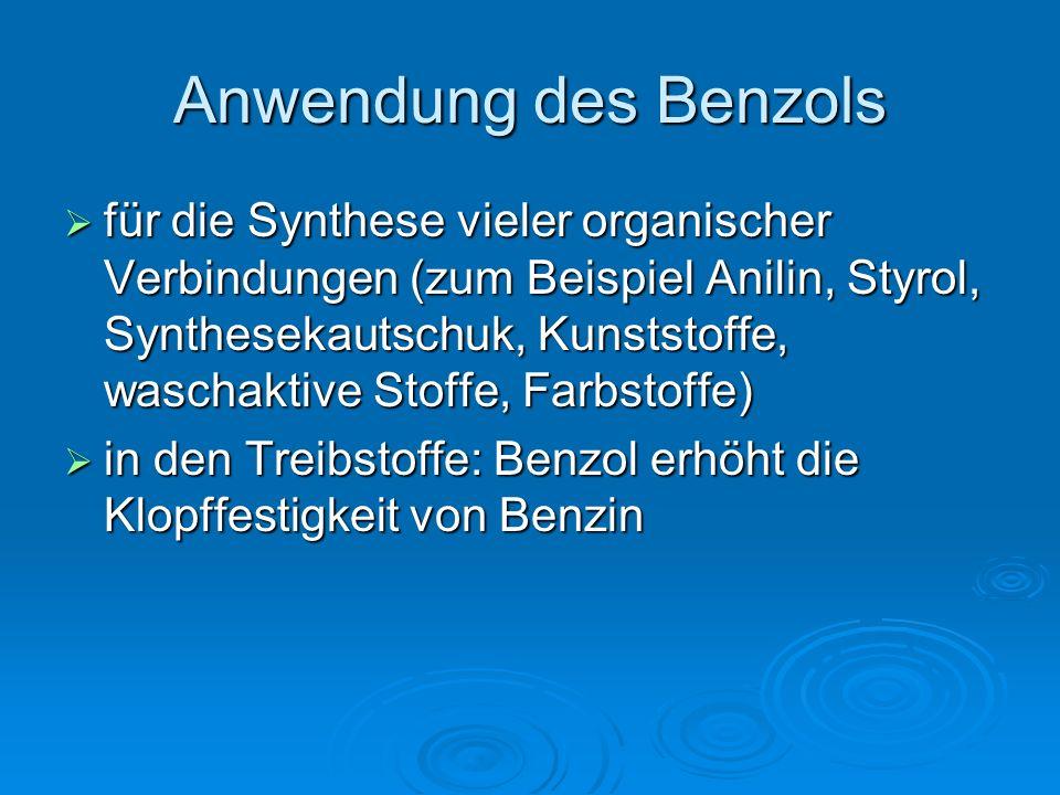 Anwendung des Benzols