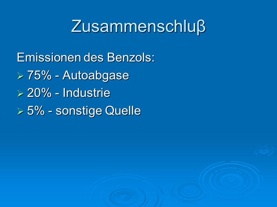 Zusammenschluβ Emissionen des Benzols: 75% - Autoabgase