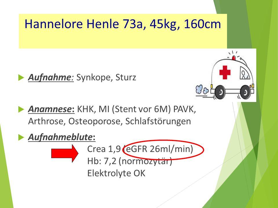 Hannelore Henle 73a, 45kg, 160cm Aufnahme: Synkope, Sturz