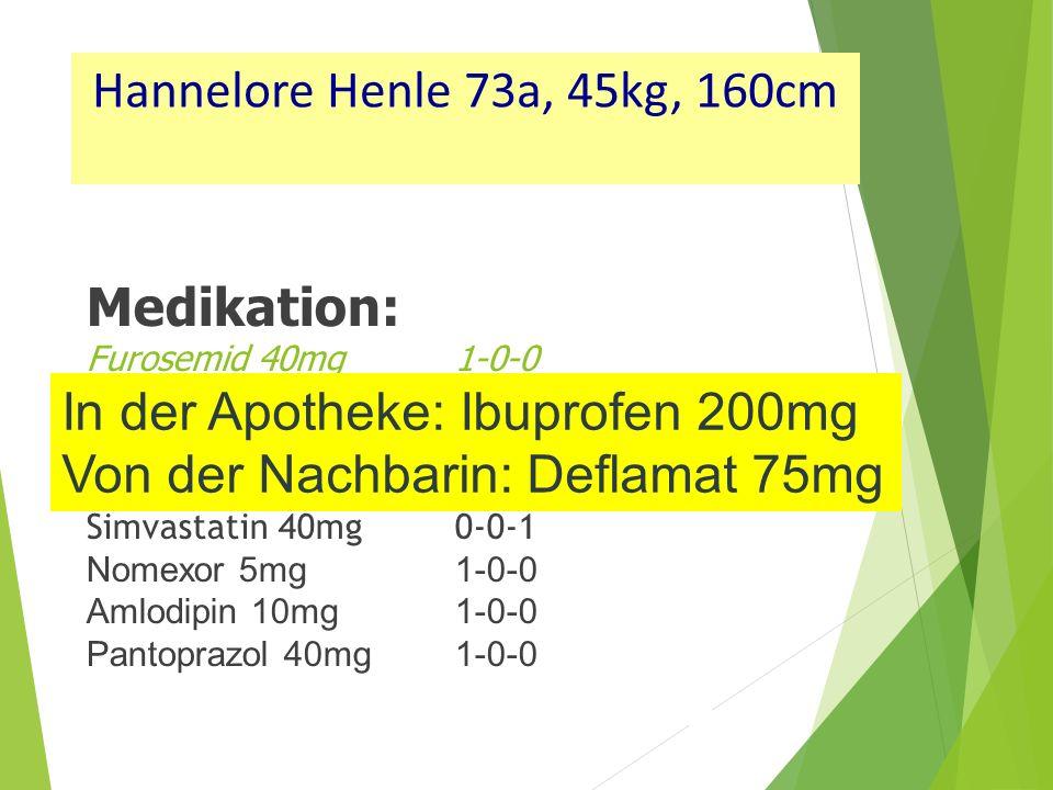 In der Apotheke: Ibuprofen 200mg Von der Nachbarin: Deflamat 75mg