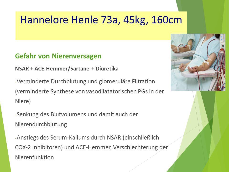 Hannelore Henle 73a, 45kg, 160cm Gefahr von Nierenversagen