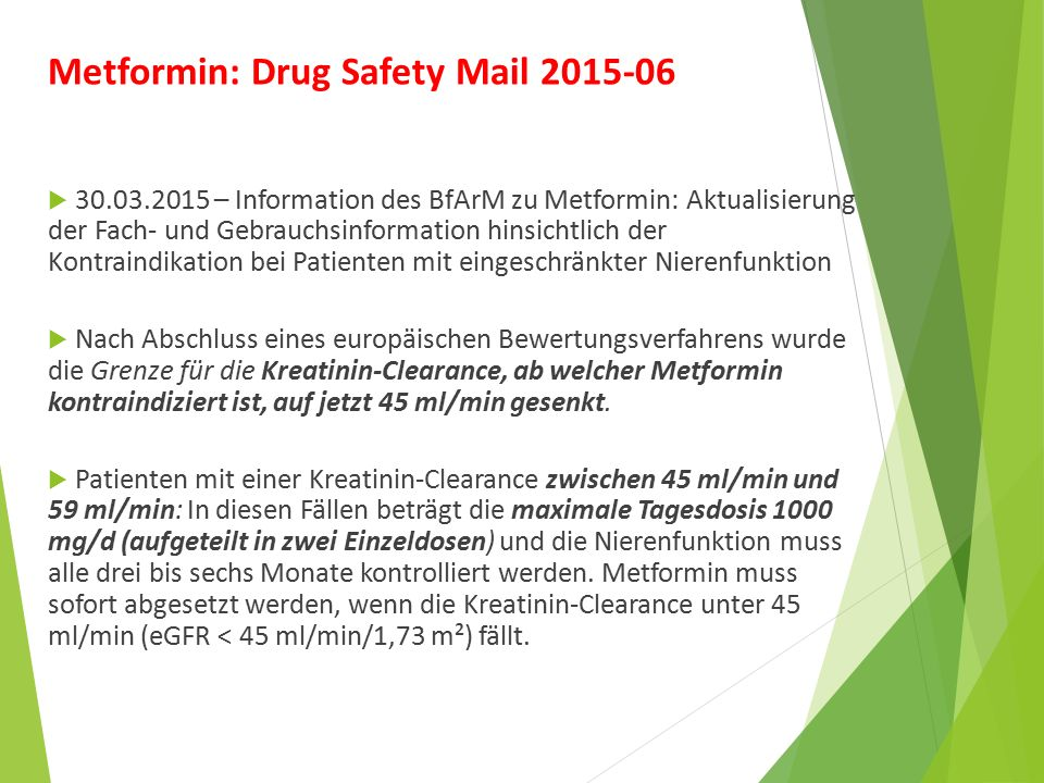 Metformin: Drug Safety Mail