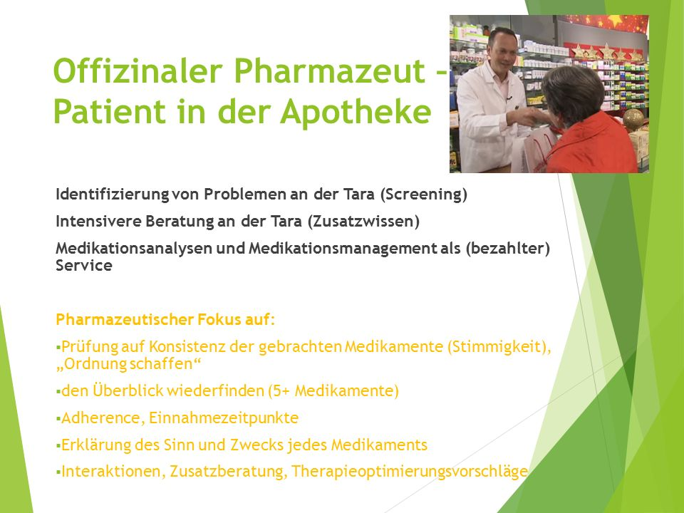 Offizinaler Pharmazeut – Patient in der Apotheke
