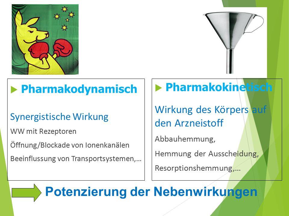 Interaktionen Potenzierung der Nebenwirkungen Pharmakodynamisch