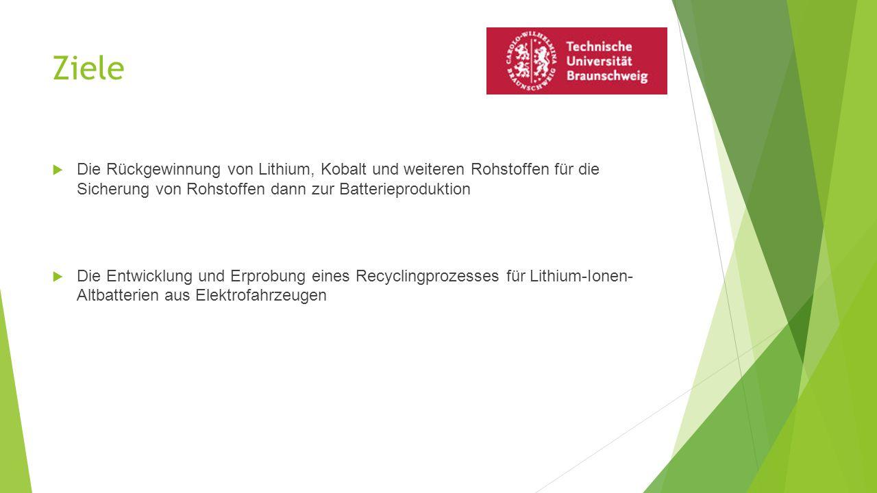Ziele Die Rückgewinnung von Lithium, Kobalt und weiteren Rohstoffen für die Sicherung von Rohstoffen dann zur Batterieproduktion.