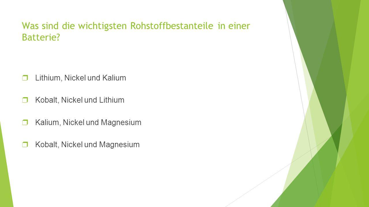 Was sind die wichtigsten Rohstoffbestanteile in einer Batterie