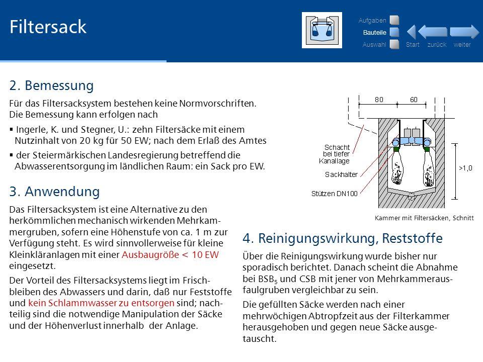 Filtersack 2. Bemessung 3. Anwendung 4. Reinigungswirkung, Reststoffe