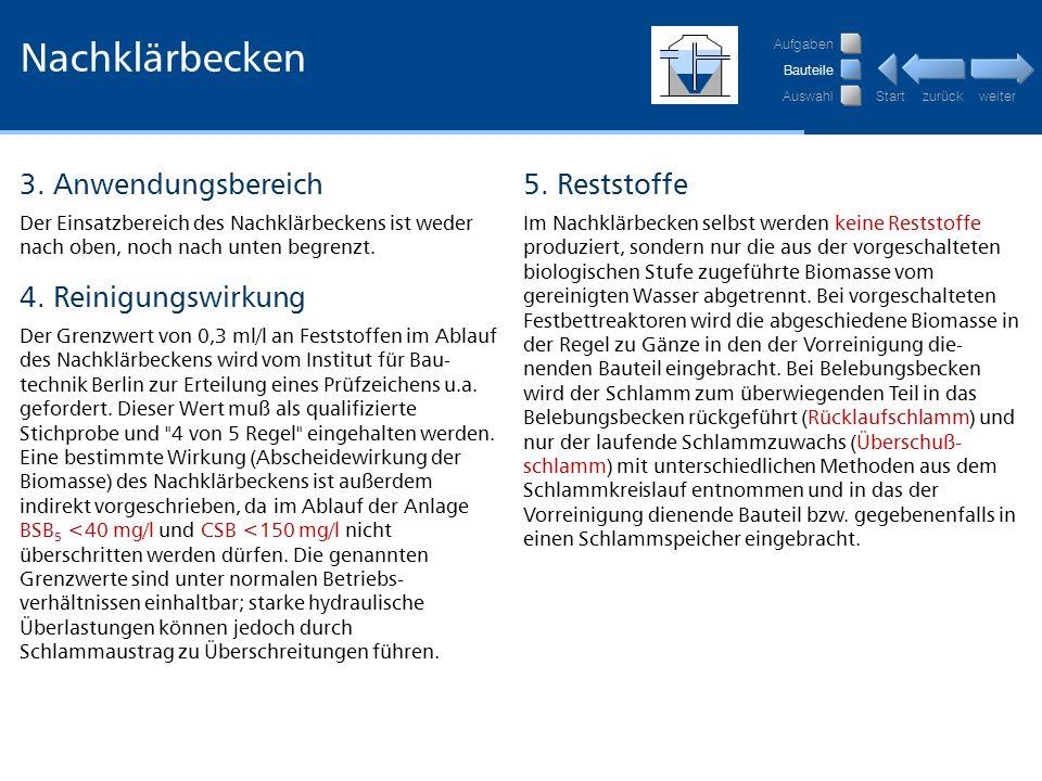 Nachklärbecken 3. Anwendungsbereich 5. Reststoffe 4. Reinigungswirkung