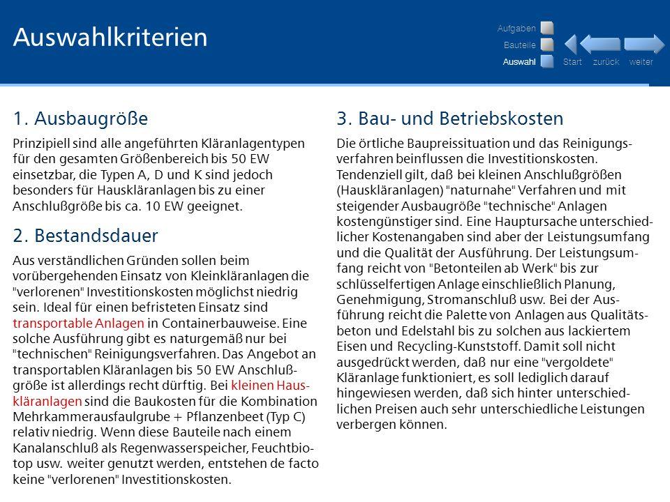 Auswahlkriterien 1. Ausbaugröße 3. Bau- und Betriebskosten