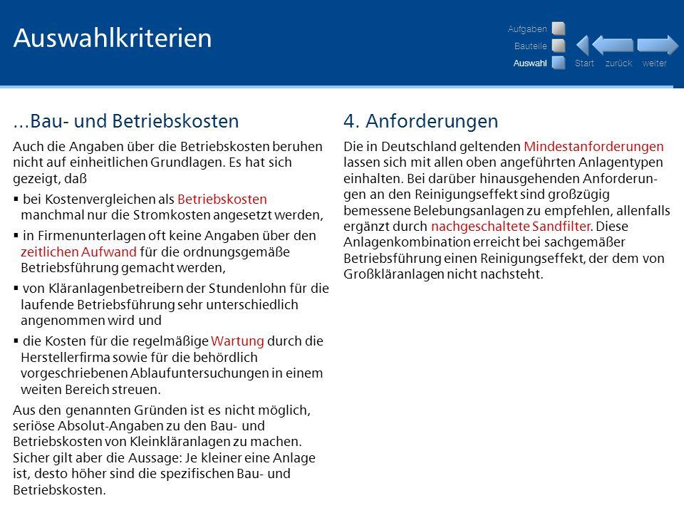 Auswahlkriterien ...Bau- und Betriebskosten 4. Anforderungen