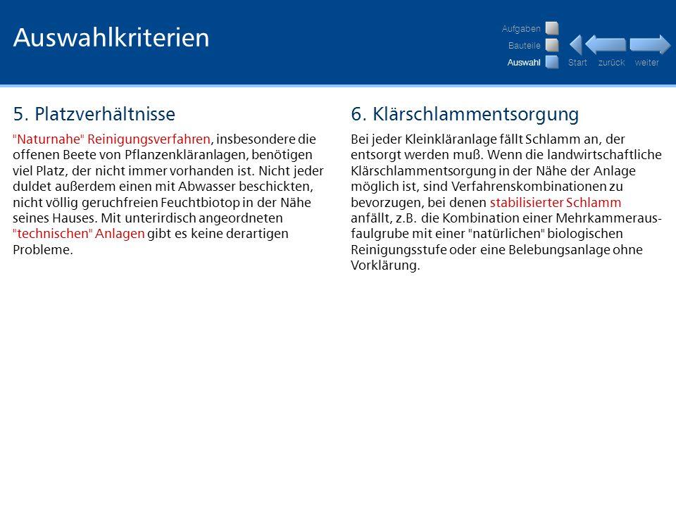 Auswahlkriterien 5. Platzverhältnisse 6. Klärschlammentsorgung