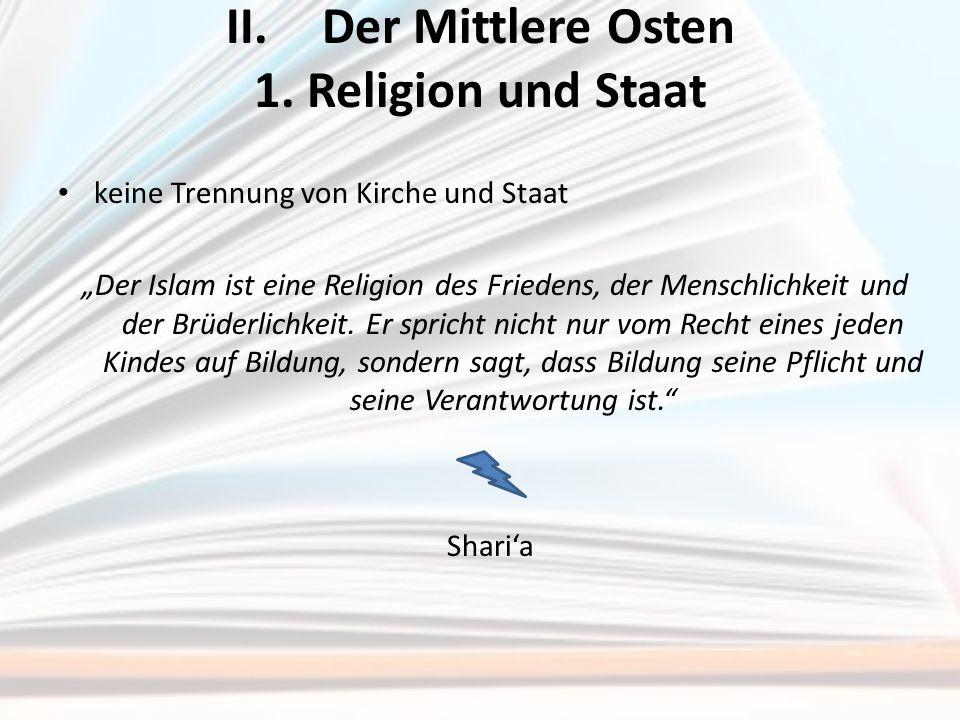 II. Der Mittlere Osten 1. Religion und Staat