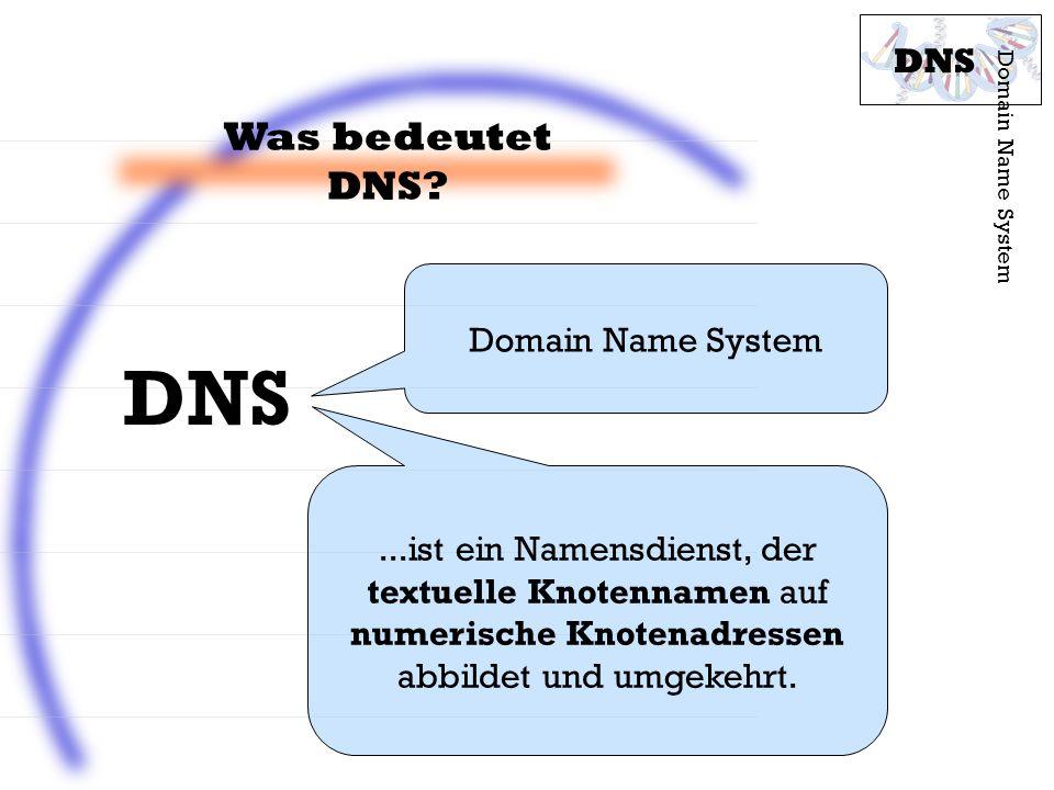 DNS Was bedeutet DNS DNS Domain Name System