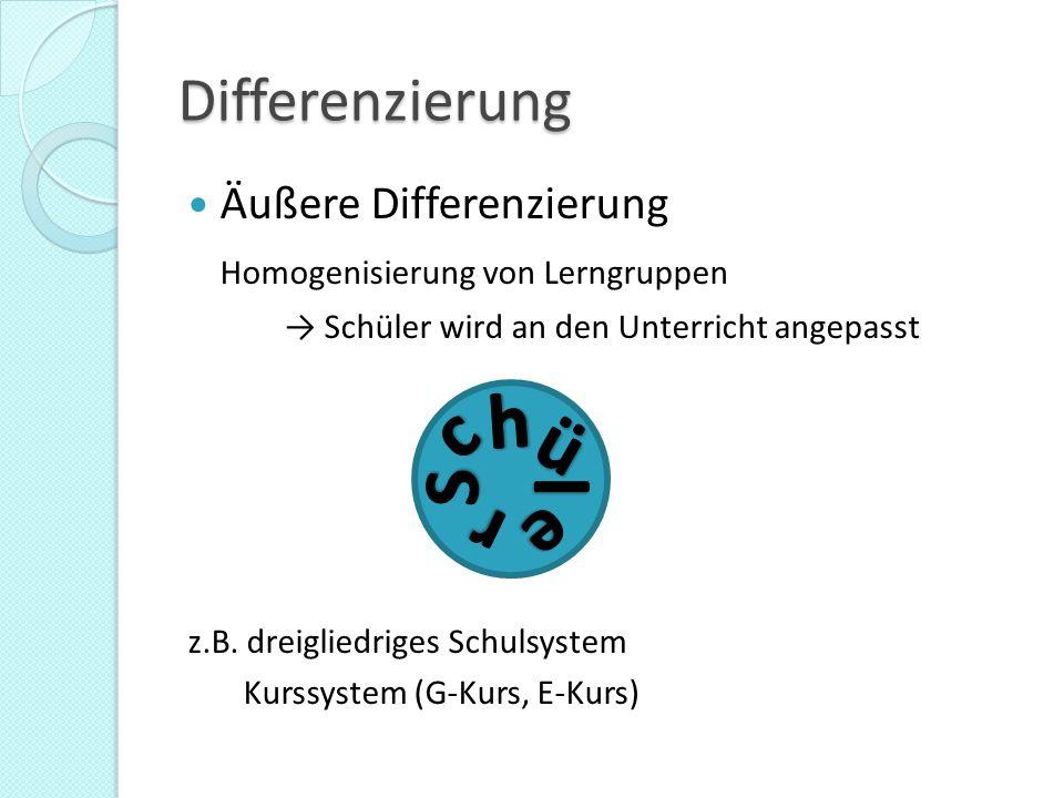 h c ü S l r e Differenzierung Äußere Differenzierung