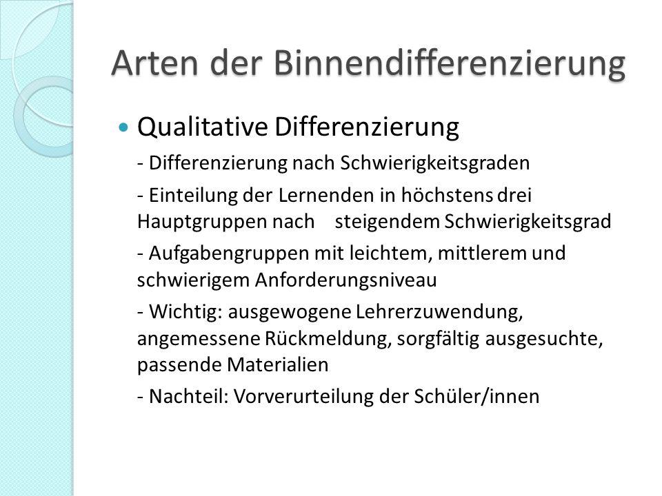 Arten der Binnendifferenzierung