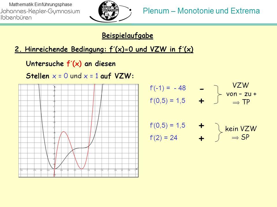 Beispielaufgabe 2. Hinreichende Bedingung: f´(x)=0 und VZW in f´(x) Untersuche f´(x) an diesen. Stellen x = 0 und x = 1 auf VZW: