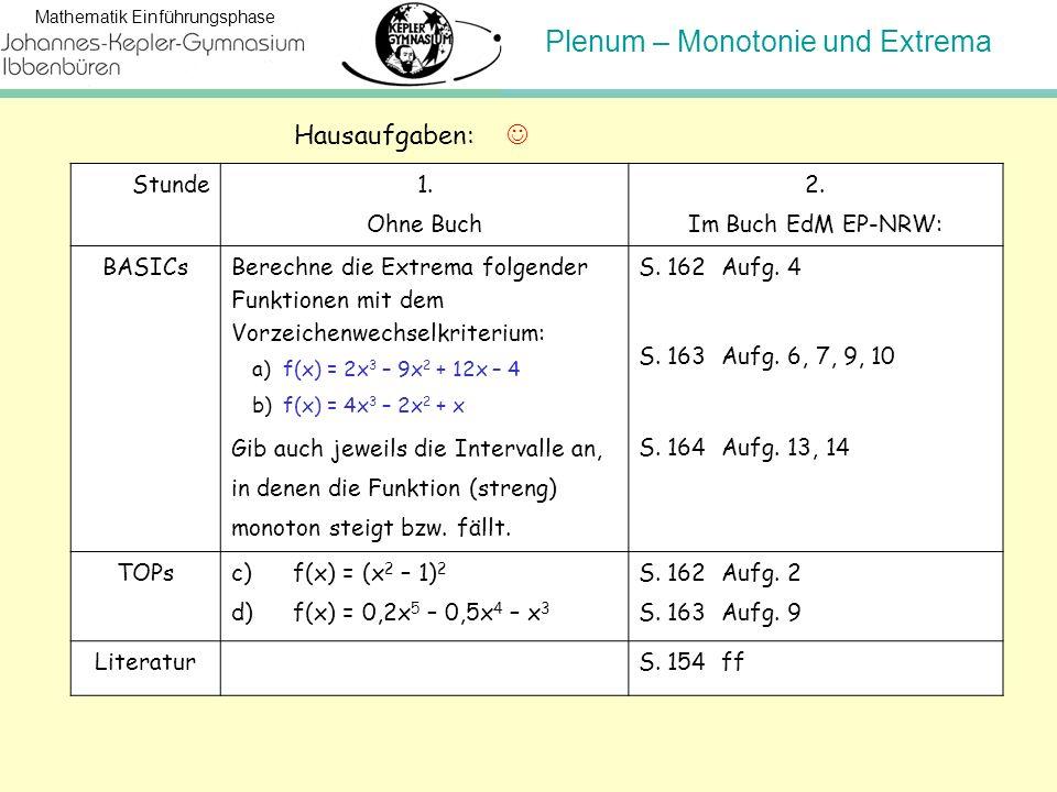 Hausaufgaben:  Stunde 1. Ohne Buch 2. Im Buch EdM EP-NRW: BASICs