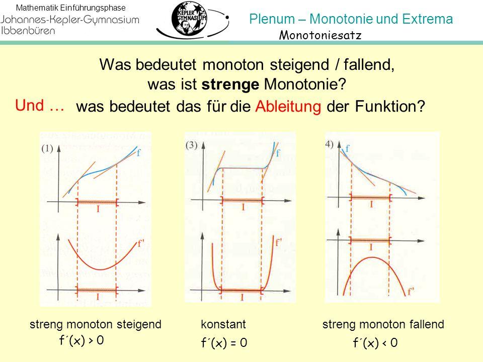 Was bedeutet monoton steigend / fallend, was ist strenge Monotonie