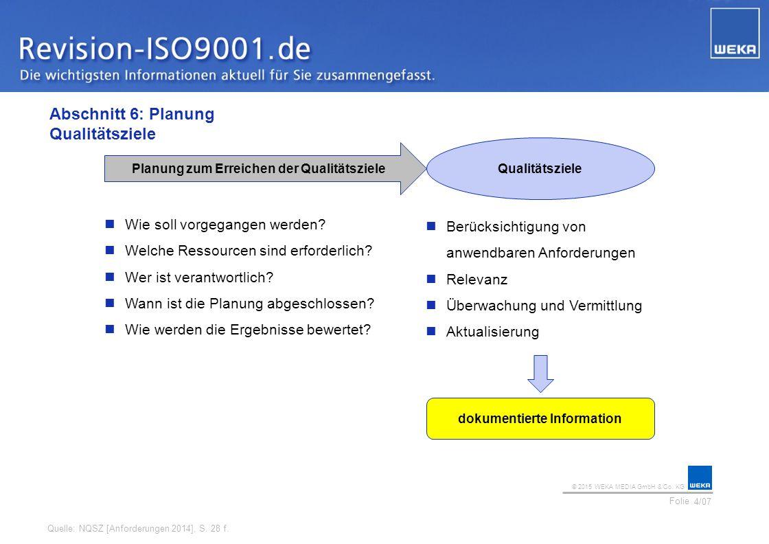 Abschnitt 6: Planung Qualitätsziele