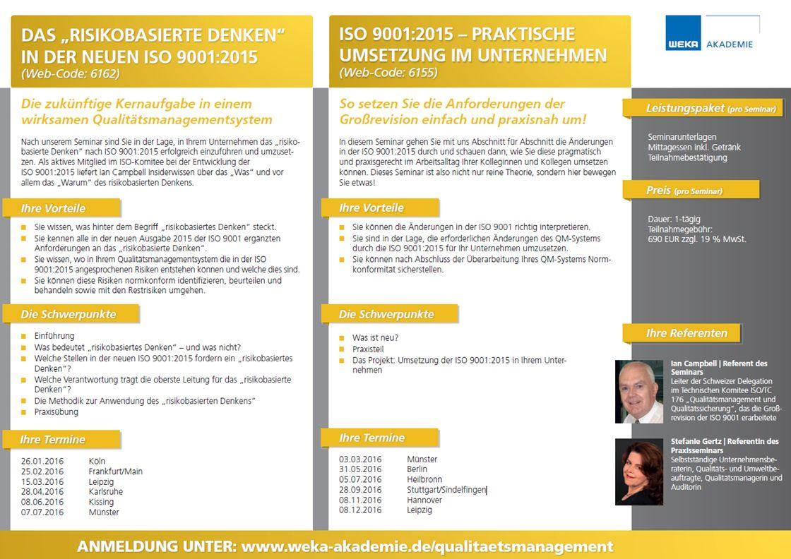 Seminare und Veranstaltungen rund um die neue DIN EN ISO 9001:2015 mit Experten wie Ian Campbell finden Sie topaktuell unter