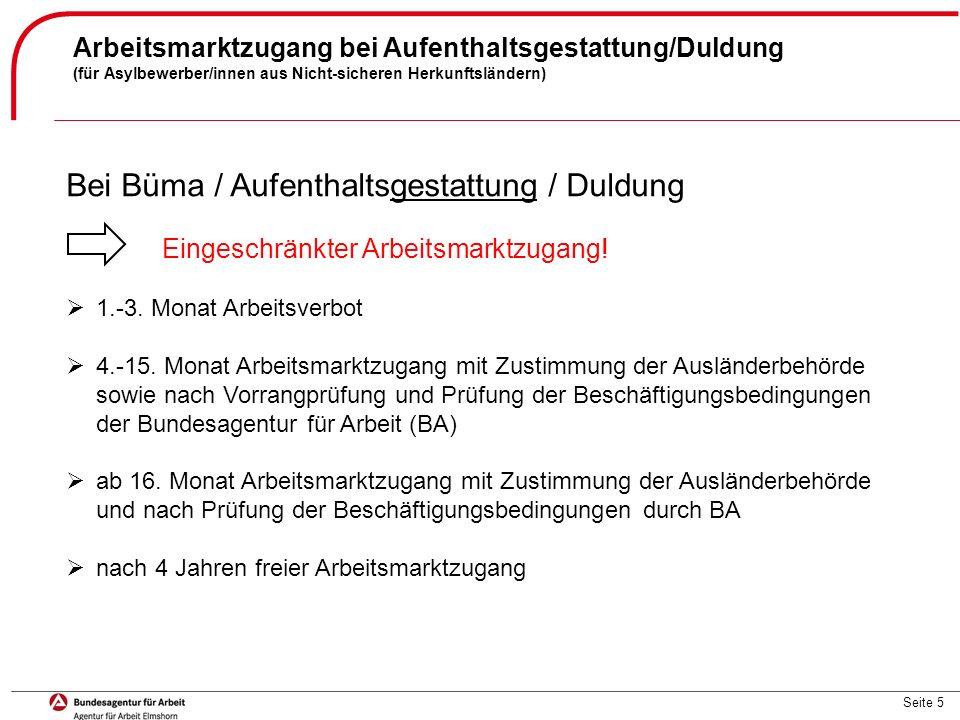 Bei Büma / Aufenthaltsgestattung / Duldung