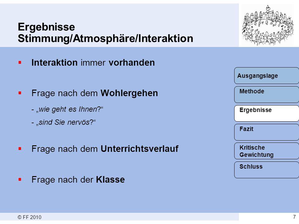 Ergebnisse Stimmung/Atmosphäre/Interaktion