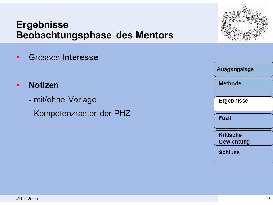 Ergebnisse Beobachtungsphase des Mentors