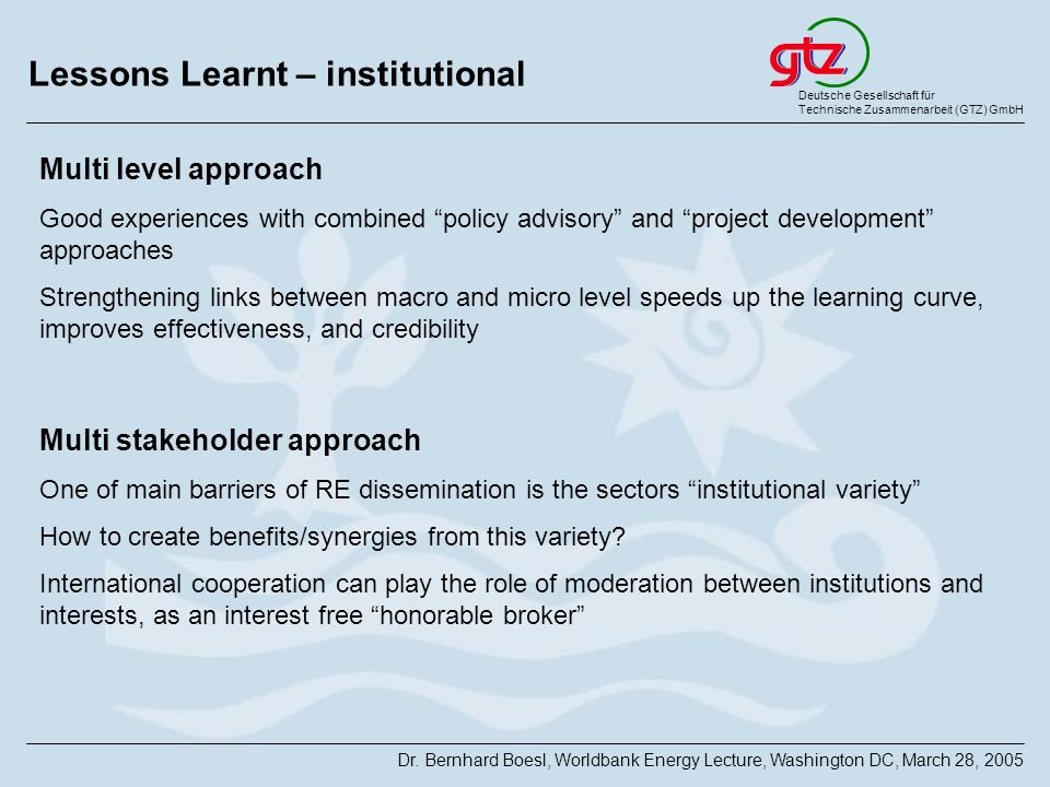 Lessons Learnt – institutional