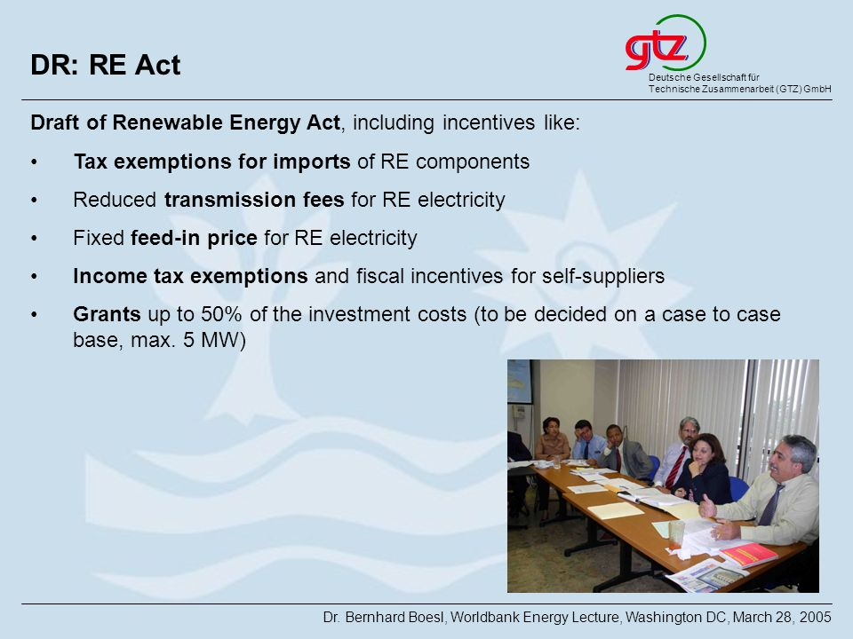 DR: RE Act Draft of Renewable Energy Act, including incentives like: