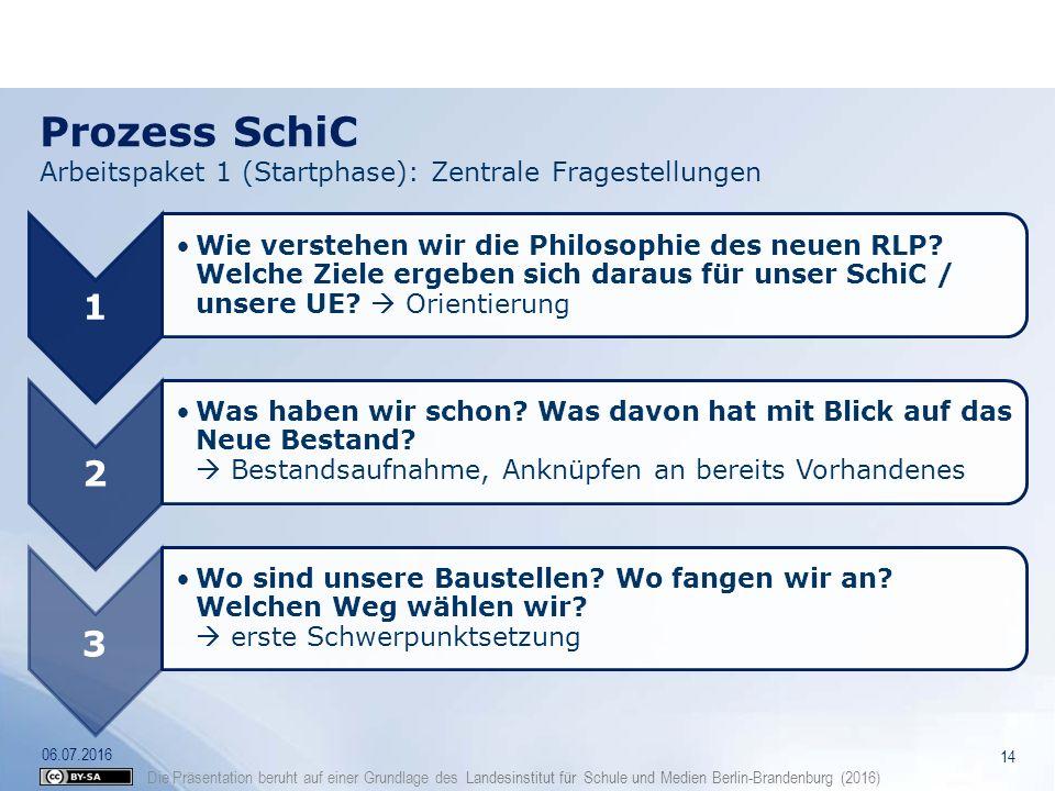 Prozess SchiC Arbeitspaket 1 (Startphase): Zentrale Fragestellungen