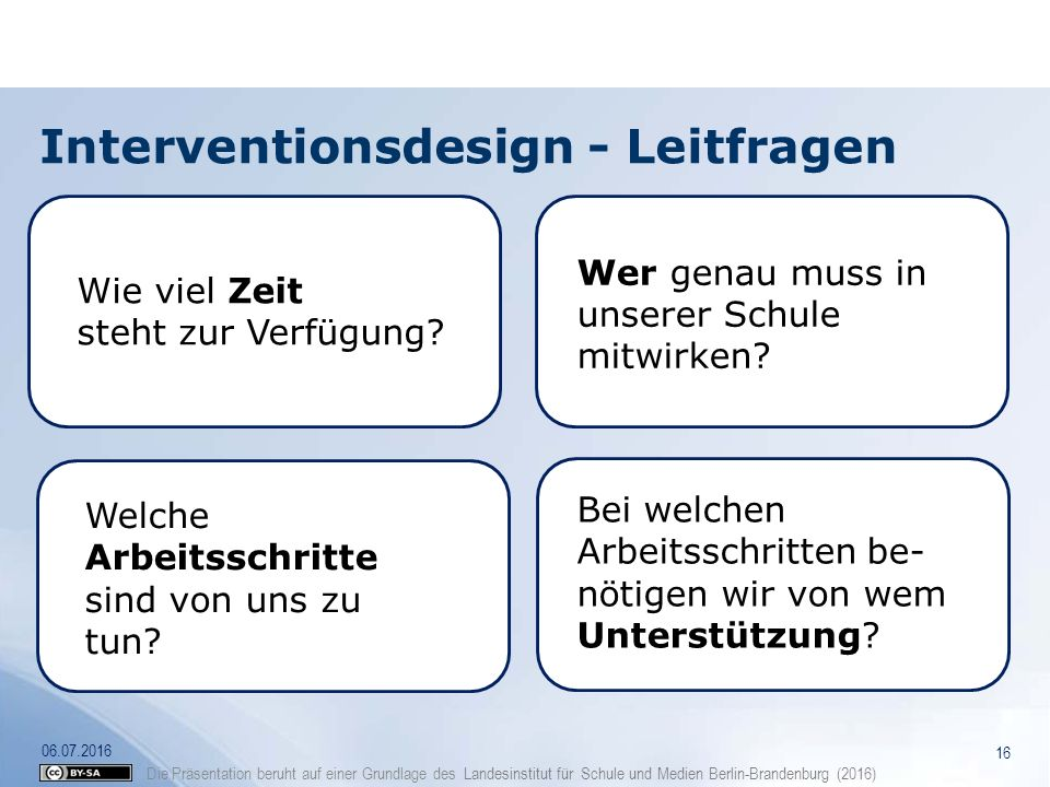 Interventionsdesign - Leitfragen