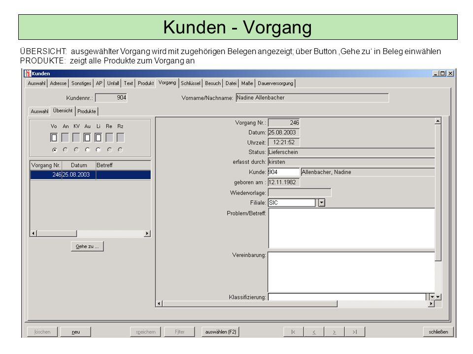 Kunden - Vorgang ÜBERSICHT: ausgewählter Vorgang wird mit zugehörigen Belegen angezeigt; über Button 'Gehe zu' in Beleg einwählen.