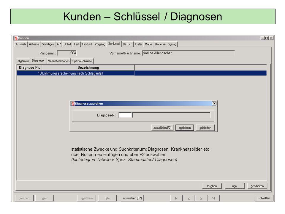 Kunden – Schlüssel / Diagnosen