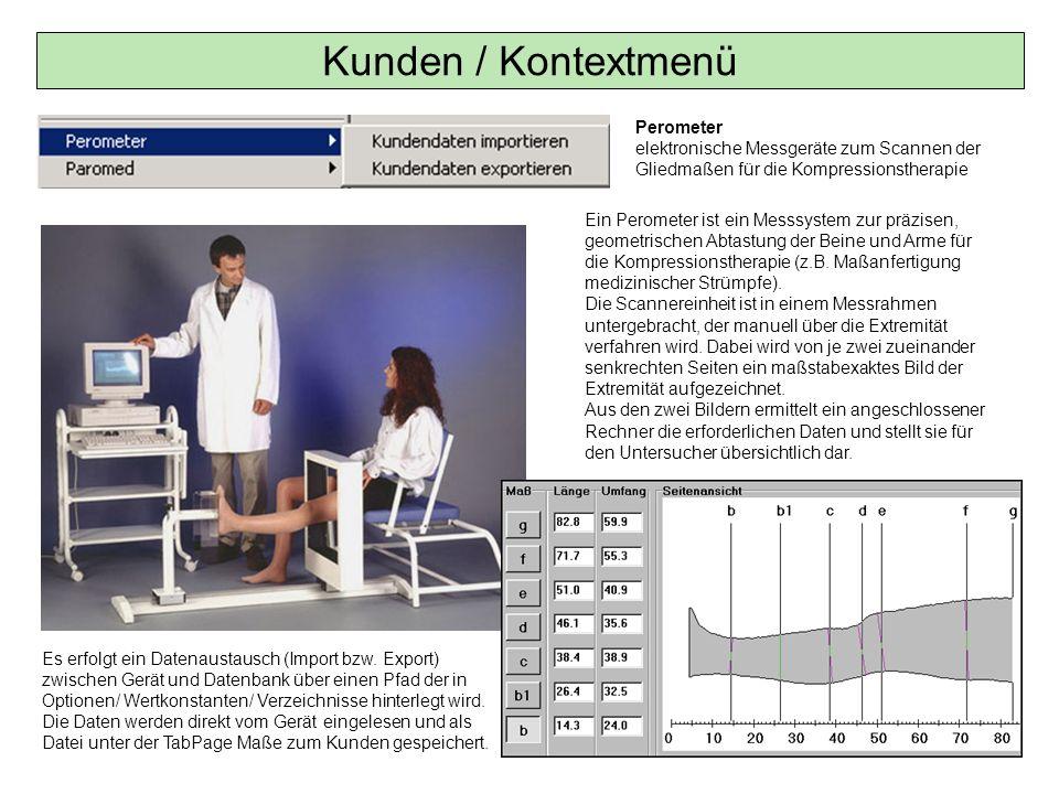 Kunden / Kontextmenü Perometer elektronische Messgeräte zum Scannen der Gliedmaßen für die Kompressionstherapie.