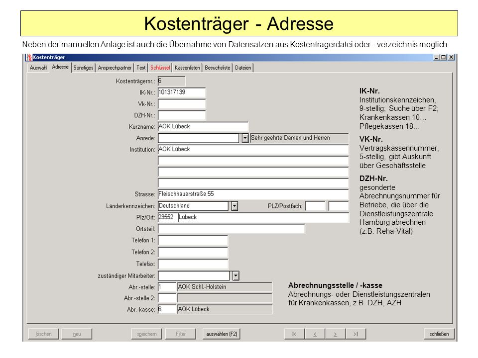 Kostenträger - Adresse