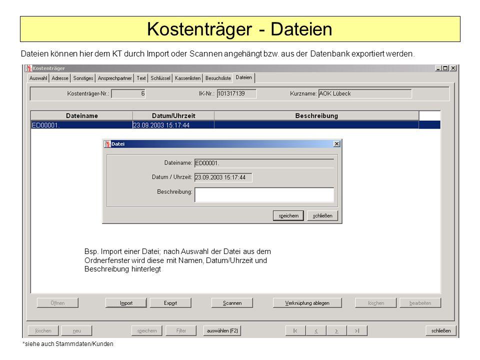 Kostenträger - Dateien