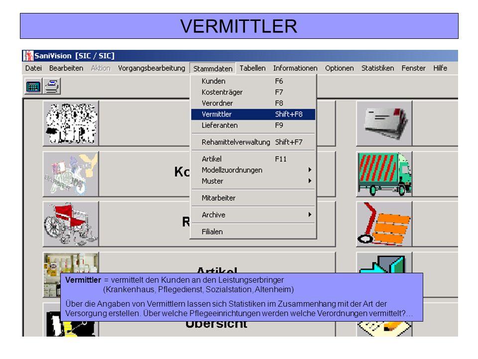 VERMITTLER Vermittler = vermittelt den Kunden an den Leistungserbringer (Krankenhaus, Pflegedienst, Sozialstation, Altenheim)