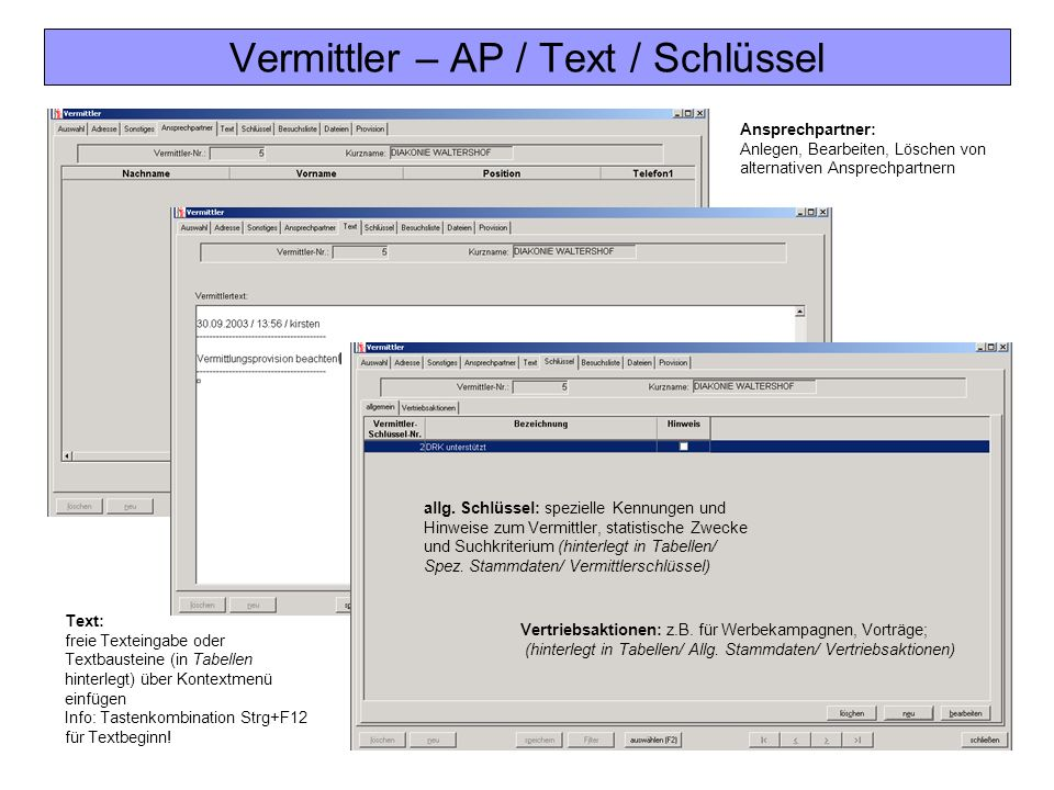 Vermittler – AP / Text / Schlüssel