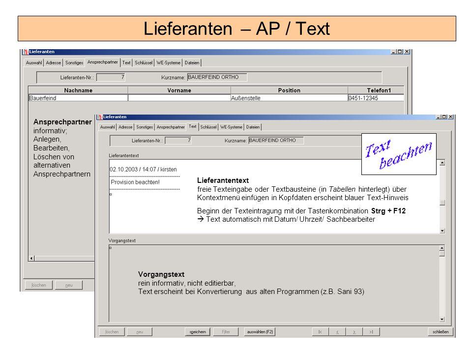 Lieferanten – AP / Text Ansprechpartner informativ;